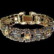 Gorgeous Vintage BLUE RHINESTONE Estate Bracelet