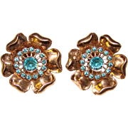 Fabulous STERLING & Aqua Stones Heavy Vintage Clip Earrings