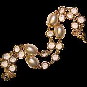 Gorgeous BEZEL EDGE SET Crystal Stone & Faux Pearl Bracelet
