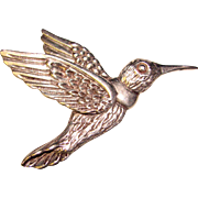 Gorgeous STERLING Silver Hummingbird Brooch