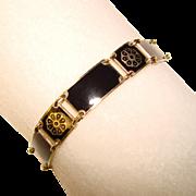 Fabulous DAVID ANDERSEN Sterling Enamel Jet Black Bracelet