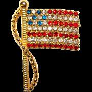 Old Glory Signed Rhinestone American Flag Brooch