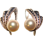 Fine MIKIMOTO Sterling & Cultured Pearl Vintage Earrings