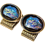 Awesome Vintage BLUE GLASS Stone Wrap Cufflinks