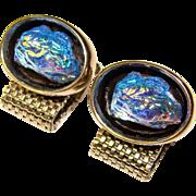 Awesome Vintage BLUE GLASS Stone Wrap Cufflinks