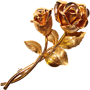 Gorgeous KREMENTZ Signed Vintage Rose Pin Brooch