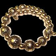 Fabulous CAROLYN POLLACK Sterling Ornate Beads Coil Bracelet