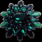 Unsigned Schreiner Green Glass & Rhinestone Brooch