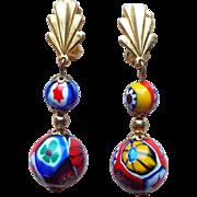 Millefiori Glass Vintage Dangle Earrings