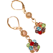 Gorgeous COLOR CRYSTAL Lever Back Dangle Earrings