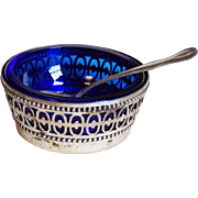 Webster Sterling & Cobalt Glass Open Salt Cellar - with Spoon