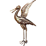 Gorgeous Vintage Silver Colored Bird Brooch