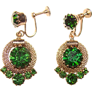 Fabulous DARK PERIDOT Green Rhinestone Vintage Earrings
