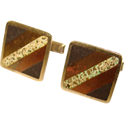 Awesome STERLING Mixed Metal Inlay Vintage Cufflinks