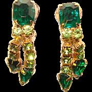 Gorgeous GREEN RHINESTONE Dangle Vintage Clip Earrings