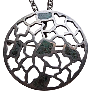 Miguel Melendez Sterling Taxco Spider Web Mosaic Pendant Brooch Necklace