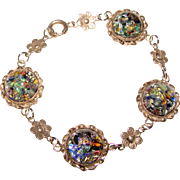 Gorgeous STERLING OPAL GLASS Dragons Breath Effect Vintage Bracelet