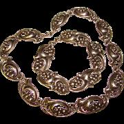 Fabulous STERLING Heavy Fluid Organic Design Necklace & Bracelet