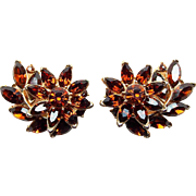 Gorgeous Trifari Chocolate Rhinestone Vintage Earrings