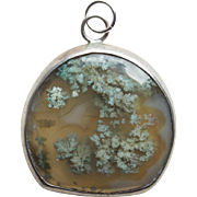 Gorgeous Moss Agate & Sterling Vintage Pendant