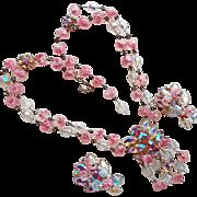 Fabulous Pink Crackle Glass & Rhinestone Vintage Necklace Set