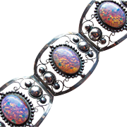 Very Wide Mexican Sterling & Opal Glass Vintage Bracelet