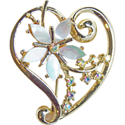 Witch's Heart Mother of Pearl & Rhinestone Vintage Brooch
