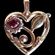 1940s Harry Iskin 10K GF Heart Pendant