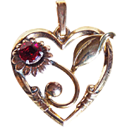 1940s Harry Iskin 10K GF Heart Pendant