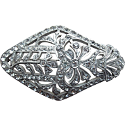 Fabulous Art Deco Paste Rhinestone Brooch - Converted Shoe Buckle
