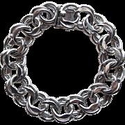 Heavy Sterling Double Link Charm Vintage Starter Bracelet - 38.1 grams
