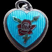 1940s Sterling & Aqua Enamel Puffy Heart Charm - Mary Lou