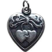 1940s Sterling Double Heart Puffy Charm - Betty