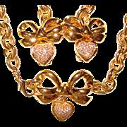 Gorgeous ELIZABETH TAYLOR Pave Rhinestone Heart Necklace & Clip Earrings Set