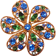 Fabulous BLUE & DARK GREEN Vintage Rhinestone Flower Shaped Brooch