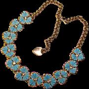 Gorgeous BLUE FLOWER Rhinestone Centers Vintage Necklace