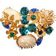 Fabulous TEAL & ROYAL BLUE Rhinestone Vintage Brooch