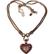 Gorgeous Signed PAVE RHINESTONE HEART Ornate Love Pendant Necklace