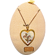 Gorgeous GOLD FILLED Heart Locket Mother of Pearl & Flowers