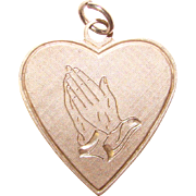 Sterling HEART & PRAYING Hands Vintage Faith Charm