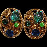 Fabulous AUSTRIA Vintage Blue Green Rhinestone Clip Earrings
