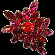 Fabulous Vibrant PINK & RED Vintage Navette Rhinestone Brooch