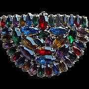 Gorgeous Art Deco Color Rhinestone Brooch