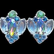 Ice Blue Green & Aurora Rhinestone Vintage Earrings