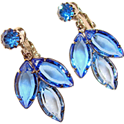 Gorgeous BLUE OMBRE Crystal Rhinestone Dangle Clip Earrings