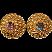 Gorgeous CORO Signed Vintage Rhinestone Clip Earrings