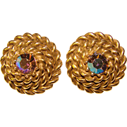 Gorgeous CORO Signed Vintage Rhinestone Clip Earrings