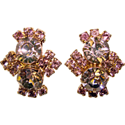 Fabulous LAVENDER RHINESTONE Vintage Clip Earrings