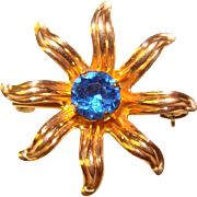 Tiny Starburst Gold Filled Blue Stone Mini Brooch - For Doll or Lapel