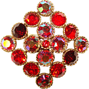 Fabulous WEISS Red & Red Aurora Vintage Brooch